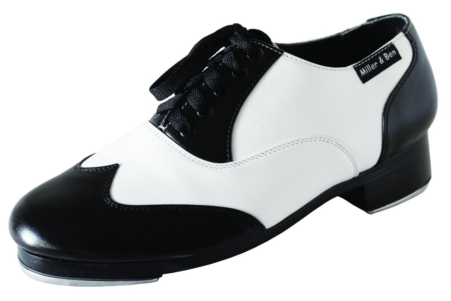 Miller & Ben Tap Shoes; Jazz-Tap Master; Black & White - Wide Sizes ONLY (39.5 Wide)