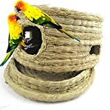 Hamster Cage Nesting House Bird Guinea-pig Rabbit Squirrel Natural Straw Feed Small Animal Hideaway Parrot Toy Removable Bottom