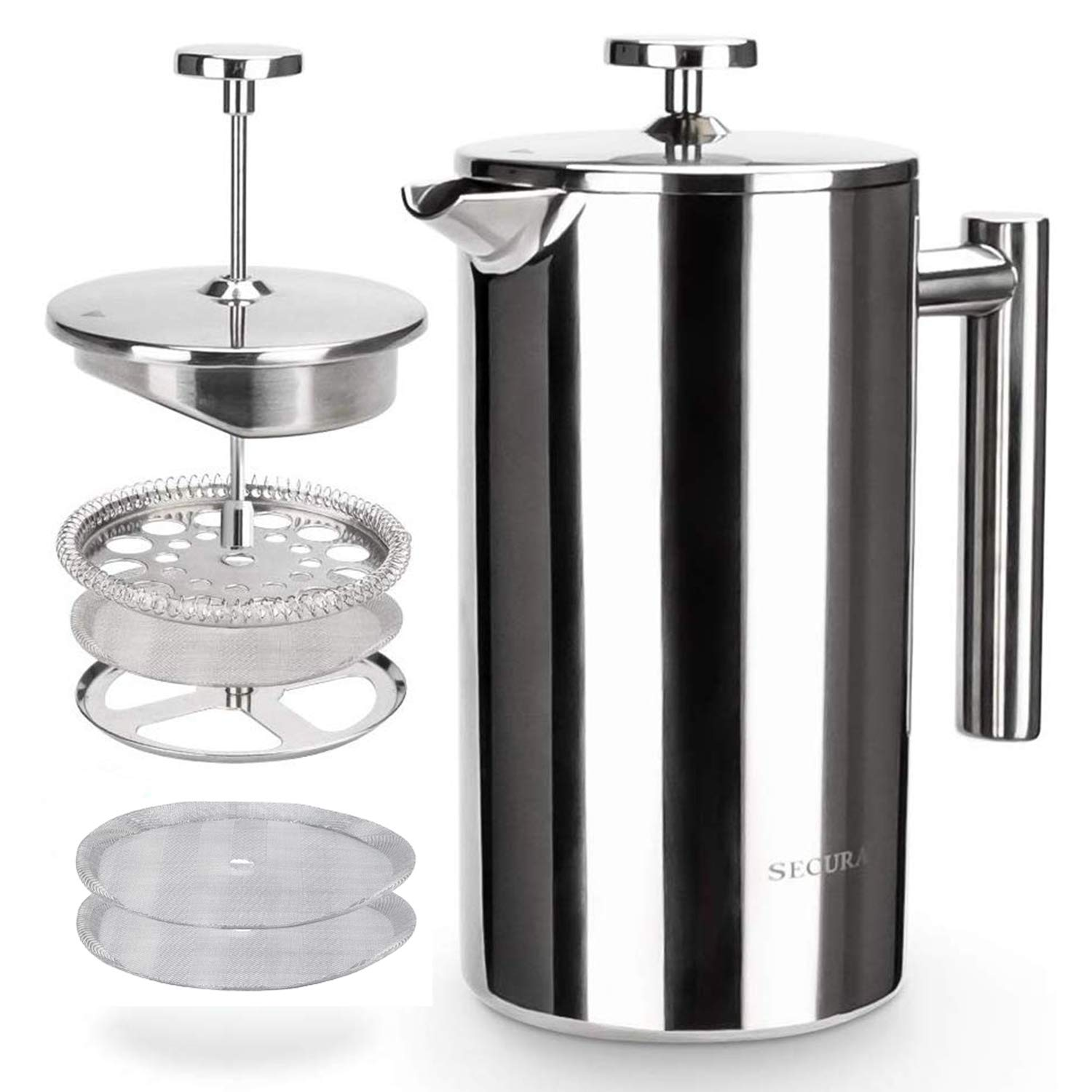 The Secura Stainless Steel Thermal French Press Coffee Maker 18/10 (1-Liter)