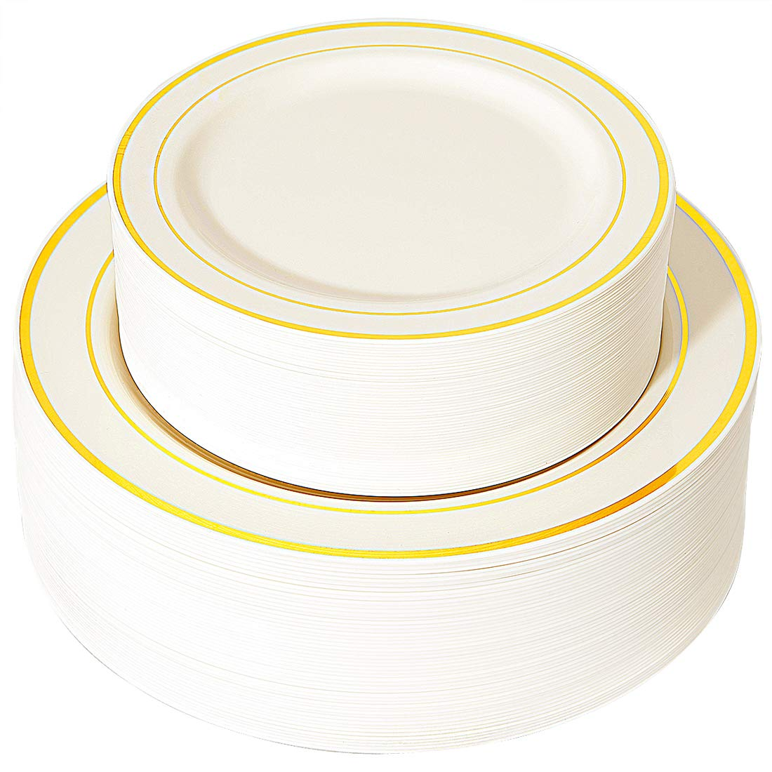 "WDF 102 pieces Gold Plastic Plates- Ivory with Gold Rim Disposable Party Wedding Plates,Premium Heavy Duty 51-10.25"" Dinner Plates and 51-7.5"" Salad Plates"