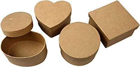 4 Medium Assorted Shapes Paper Mache Boxes for Crafts Papier Mache Boxes