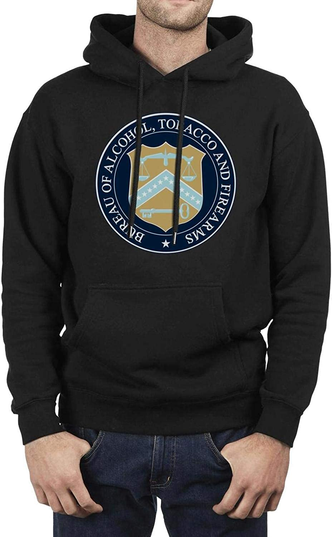 LQIAO Mens Hoodie Bureau of Alcohol Tobacco Firearms and Explosives Funky Streetwear Long Sleeve Hoody Sweatshirt