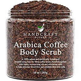 Handcraft Arabica Coffee Body Scrub and Facial Scrub – All Natural with Organic Ingredients – for Stretch Marks, Acne, Powerful Anti Cellulite Remover and Spider Veins 10 oz