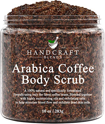Handcraft Arabica Coffee Body Scrub - All Natural with Organic Ingredients - for Stretch Marks, Acne, Anti Cellulite and Spider Veins 10 oz