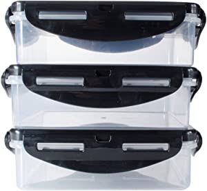 6 Pack Fitness Sure Seal Meal Prep Containers Square Set of 3 (Clear/Black)