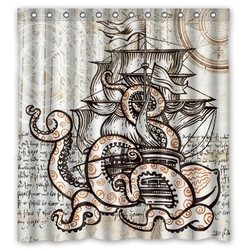 (Lawrence Custom Waterproof Fabric Bathroom Shower Curtain With Rings Attack Octopus Ship 66x72 inch)