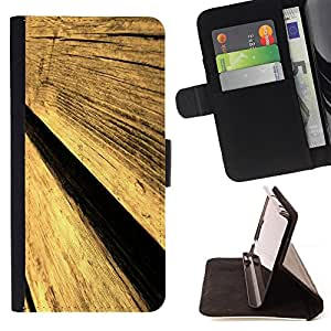 DEVIL CASE - FOR Samsung Galaxy Note 4 IV - Wood Wall Fence Design Architecture Material Art - Style PU Leather Case Wallet Flip Stand Flap Closure Cover