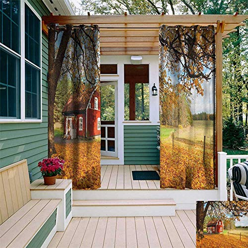 leinuoyi Fall, Outdoor Patio Curtains, Quaint Traditional Red Swedish House Tranquil Environment Cottage Countryside Woods, for Privacy W84 x L108 Inch Multicolor (The Falls Kendall)