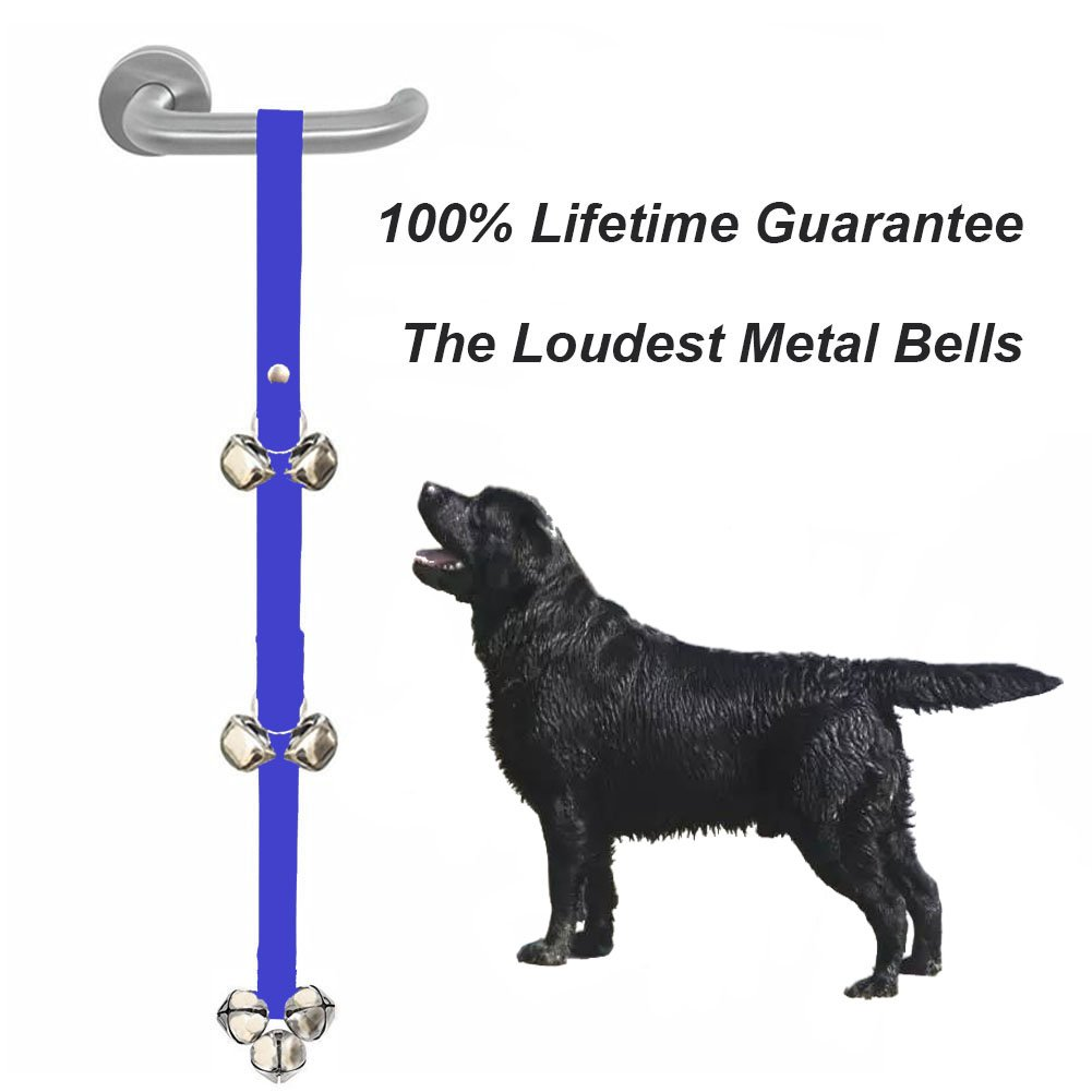 Dog Bells for potty training pet dog doorbell for housebreaking and House training the loudest metal bells Extra Large Mighty Paw Tinkle doggy doorbell Puppy Training (Blue)