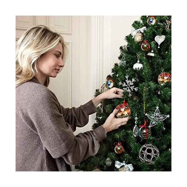 Gwhole Set di 15 Palline di Natale con 15 Corde d'oro e 15 Corde Rosse, 6cm 8cm 10cm Sfera Plastica Trasparenti Palla Palle da Natalizie Albero Apribili Decorative 7 spesavip
