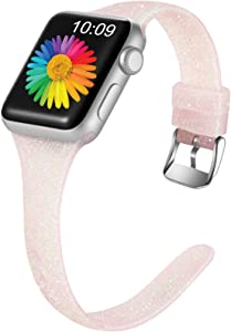 Getino Glitter Band Compatible with Apple Watch 40mm 38mm iWatch SE & Series 6 & Series 5 4 3 2 1, Soft Silicone Slim Sport Bands for Women Girls Kids, Shiny Cherry Pink, S/M