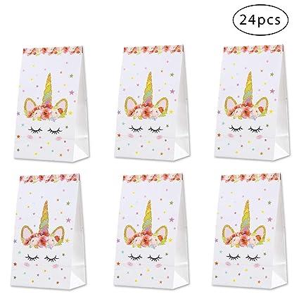 Amazon.com: Bolsas de regalo de papel de unicornio rojo de ...