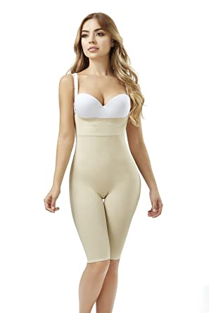 1e7802ee3a1e0 ShapEager Women s Seamless Body Shaper Bio-Crystals Long Short Faja  Colombiana Beige