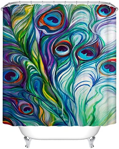 Peacock Feather Shower Curtain for Bathroom Shower Curtain Set with Hooks Bathroom Polyester Fabric 72 x 72 INCHES