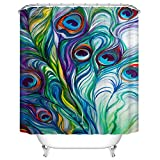 Peacock Feather Shower Curtain by Goodbath, Waterproof and Anti-resistant Fabric Bathroom Curtains, 66 x 72 Inch, Colorful