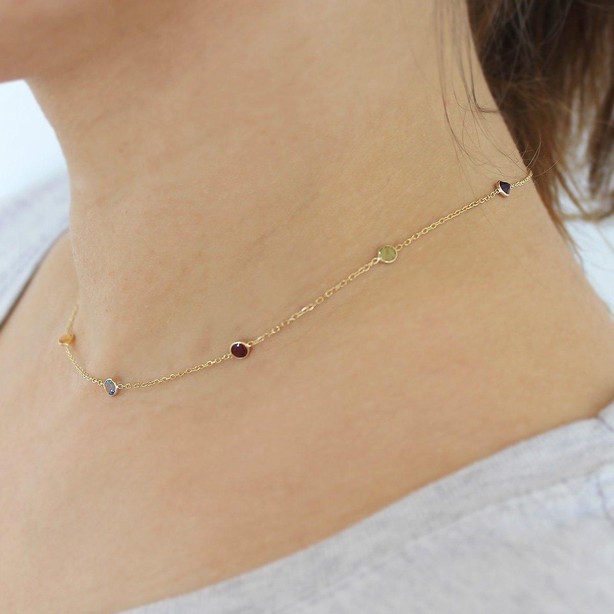 14k Yellow Gold Bezel Set Natural Gemstones Station Necklace, 16'' by Beauniq (Image #3)