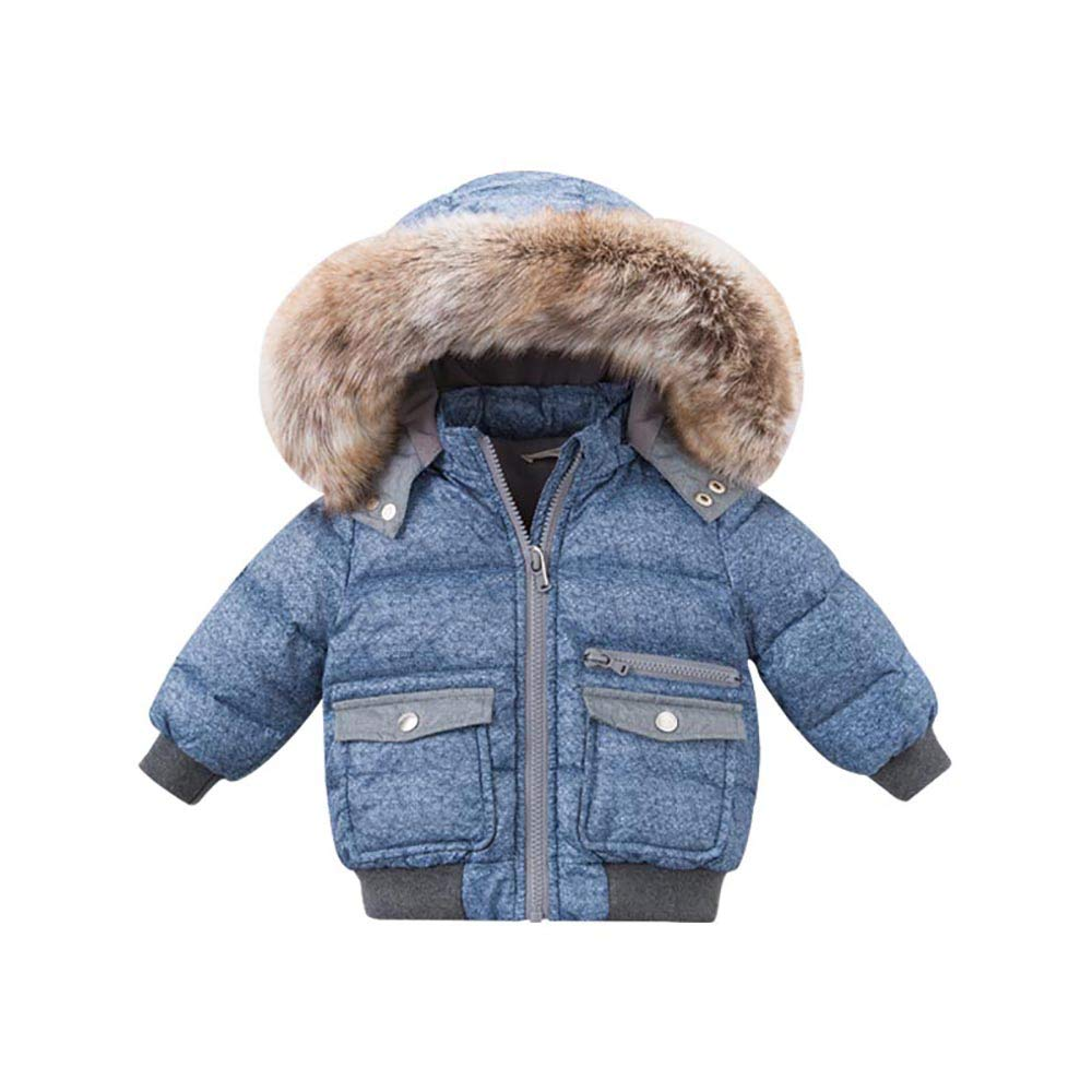 DAVE & BELLA Baby Boy's Down Jacket Coat Jacket Outwear Clothes 18M-7T (Blue, 6T)
