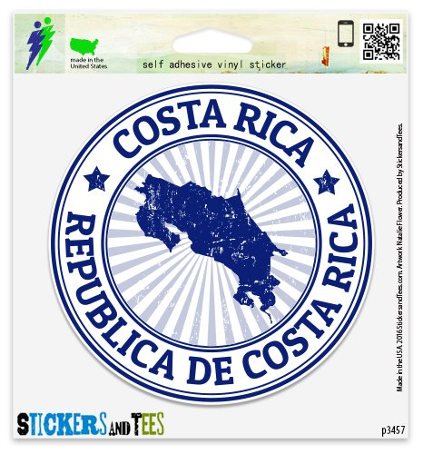 "Costa Rica Vinyl Car Bumper Window Sticker 2"" x 2"""