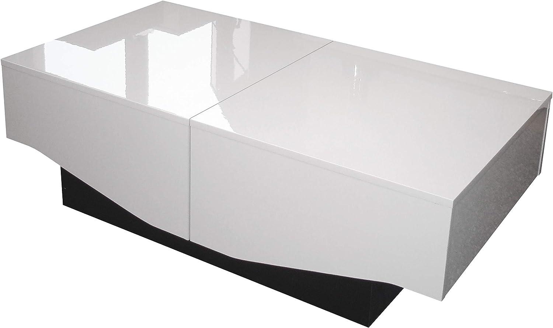 Blanc Brillant//Noir Panneaux de Particules 113 x 60 x 40 cm Berlioz Creations Amelie Table Basse