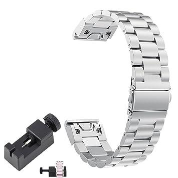 Chofit Fenix 5 Plus Band - Correa de Repuesto para Reloj Inteligente Garmin Fenix 5 Plus (22 mm), Color Plata: Amazon.es: Deportes y aire libre