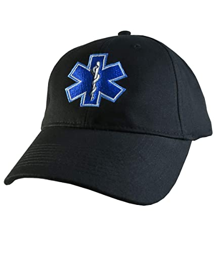 b05fbd5826b Amazon.com  Paramedic EMT EMS Star of Life Embroidery on Adjustable Black  Structured Premium Baseball Cap with Options to Personalize Two Locations   ...