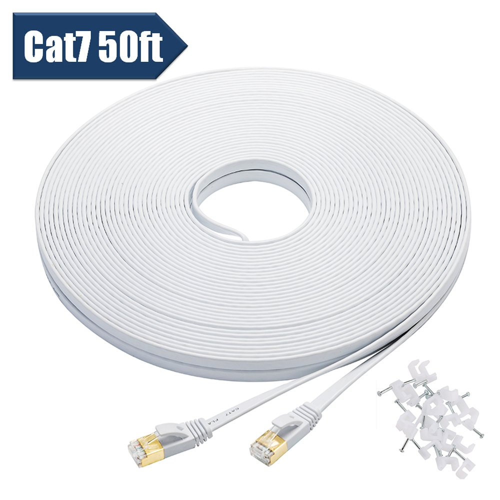 Bxton Cat 7 Ethernet Cable 50 Feet High Speed 10 Network Cables Cat5e White Flat Patch 32 Awg 35 Foot Gigabit Lan With Clips Shielded Rj45 Connectors Faster Than Cat6
