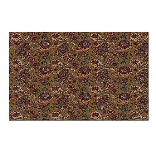 YOLIYANA Paisley Durable Door Mat,Vintage Inspired Multicolored Leaf Authentic Flower Motif in Earth Tones Print for Home Office,15.7
