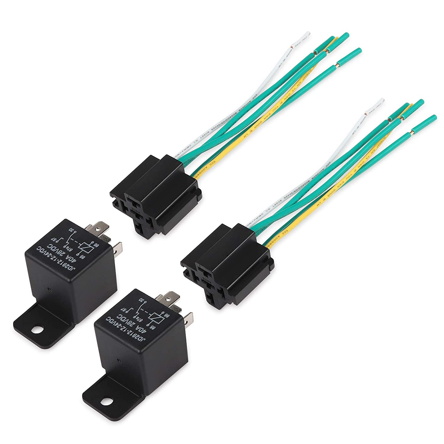 Pack of 5 Ehdis/® Car Truck Relay Socket Harness kit 5 Pin 5 Pre-wired 24V 40 Amp SPDT Bosch Style Waterproof Motor Relay Contactor Switches Power