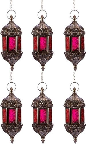 Nuptio 6 Pcs Hanging Hexagon Decorative Moroccan Candle Lantern Holders