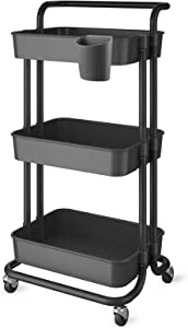 JAKAGO 3-Tier Rolling Utility Cart Trolley Cart Multifunction Storage Shelves with Mesh Basket, Handles and Wheels, Adjustable Organizer Rack Service Cart for Office, Kitchen, Bedroom, Bathroom(Black)