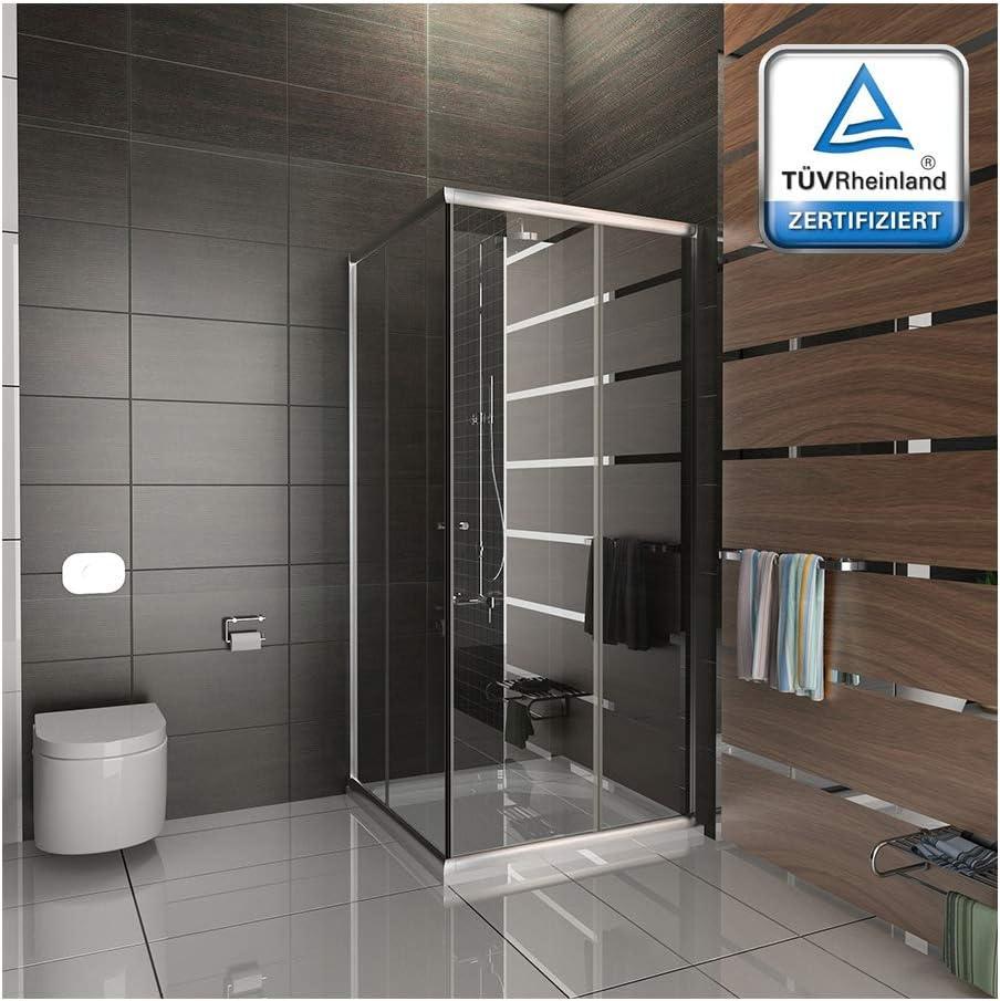 Alpenberger - Cabina de ducha de esquina 120 x 90 x 185 cm - Mampara de ducha de cristal de seguridad de 6 mm y certificado TÜV - Cabina de ducha con