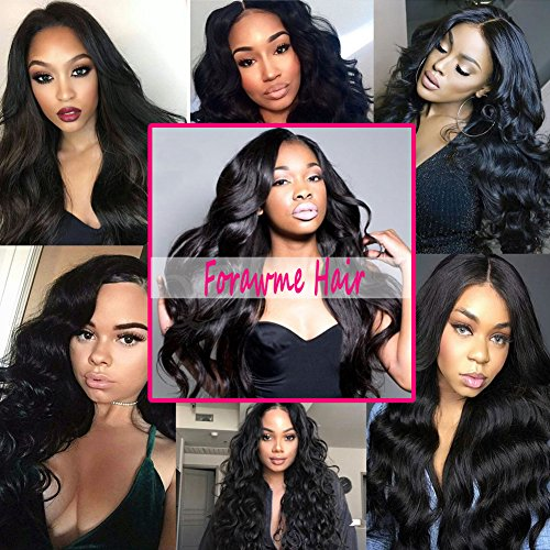 8403c61932b Forawme Remy Brazilian Human Hair Full Lace Frontals Closure With Baby Hair  18 Inch 130% 1B Natural Color Body Wave Pre Plucked Lace Frontal Closure ...