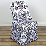 Efavormart Black Damask Velvet Flocking Folding Chair Covers Dinning Chair Slipcover for Wedding Party Event Banquet Catering