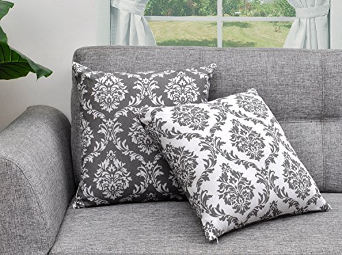 Pillowcase Damask (Urban Style Decor Throw Pillow Cover (Set of 2) Cotton Printed Damask Design Decorative Cushion Covers (2 Pillowcases; 18 x 18 inches) (Charcoal))