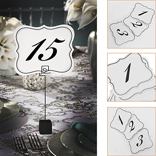 Adorox Scroll Edge Table Number 1-25 Cards Black and White Place Holder Wedding Party Decoration - Edge Place Card