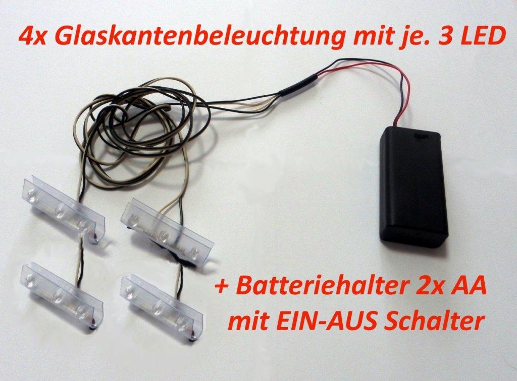 4er juego de 3 bombillas LED de los bordes de cristal de vidrio de cristal de colour de luz de la iluminación de la iluminación de soporte de batería ...