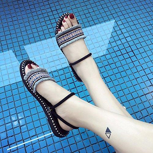 nero piatto donna fondo femminile pantofole Beach sandali ITTXTTI scarpe nuovo Wear Wild Simple 35 Student a estate 8ta7qw0