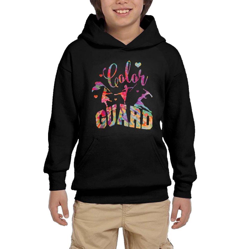 Youth Black Hoodie Tie Dye Color Guard Hoody Pullover Sweatshirt Pocket Pullover For Girls Boys XL by Hapli