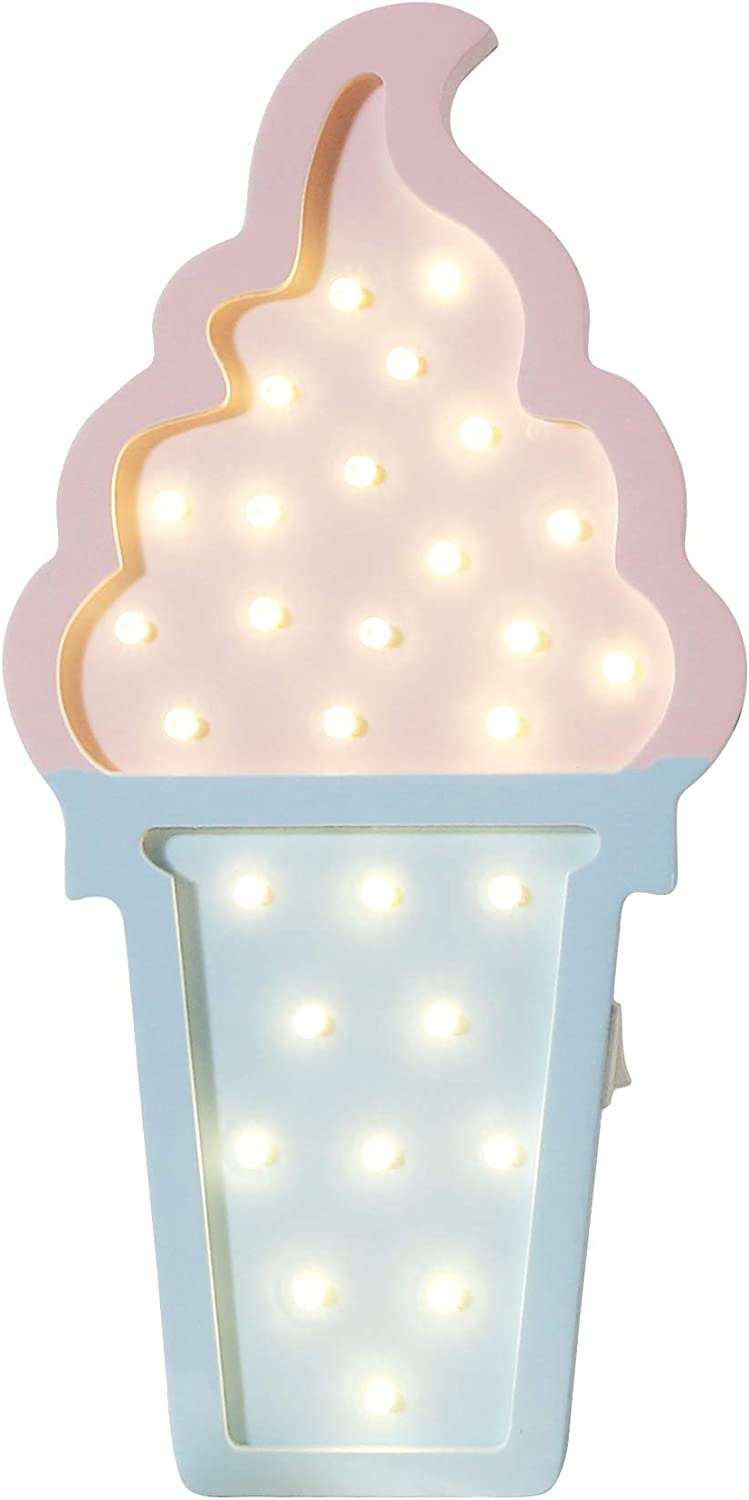 Ice cream Valentine Romance Atmosphere Light , Party Wedding Birthday Party Decoration Kids' Room Battery Operated LED Night Lights (Pink and Blue)