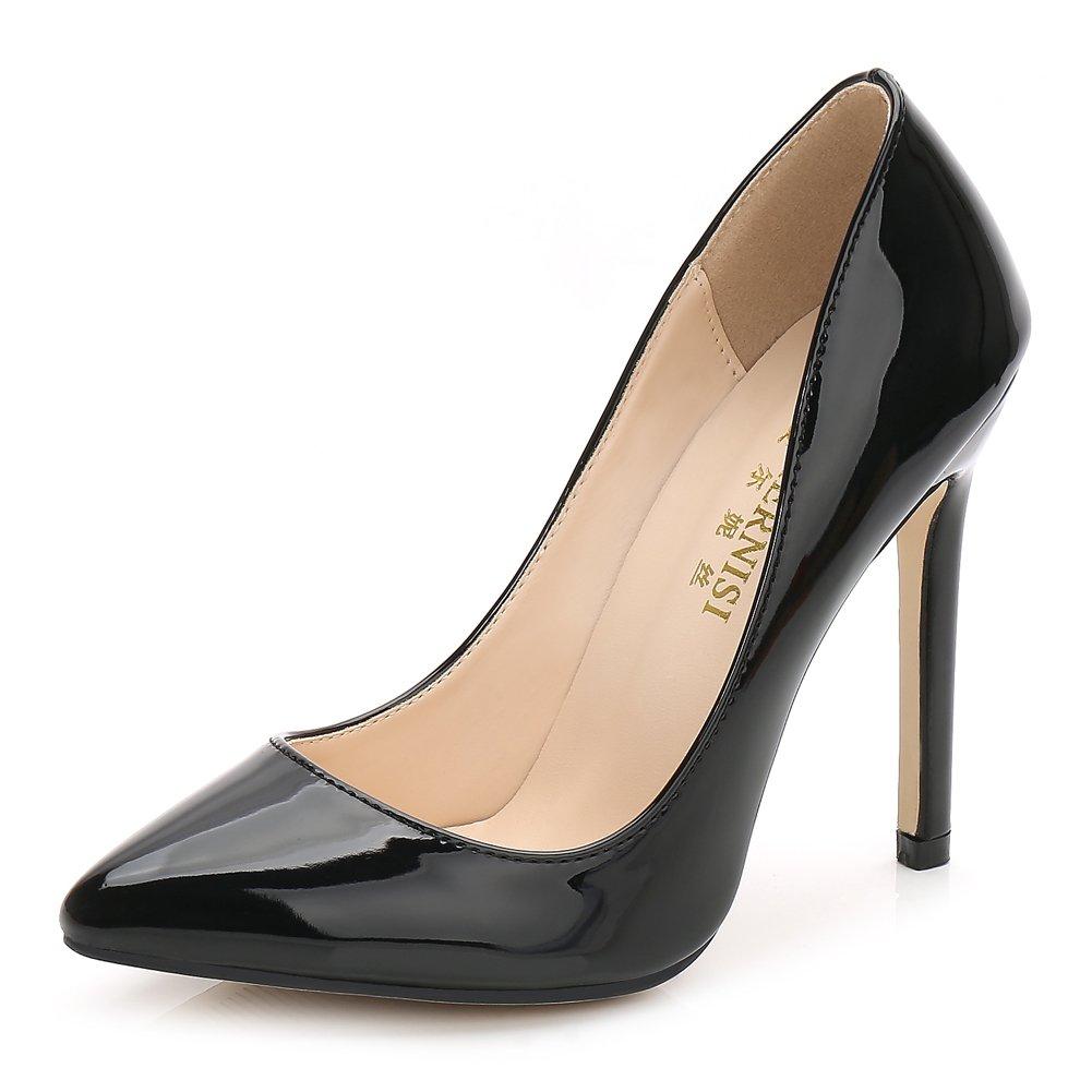 MAIERNISIJESSI Women's Classic Slip On Pointed Toe High Heel Wedding Dress Pumps Shoes Black 41 - US 8.5
