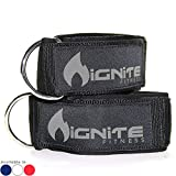 Ignite Fitness Neoprene Ankle Straps, Intensify Your Machine Cable Workouts for Abs, Legs, and Glutes – Durable Fitness Cuffs with D Ring – Fits Both Men and Women