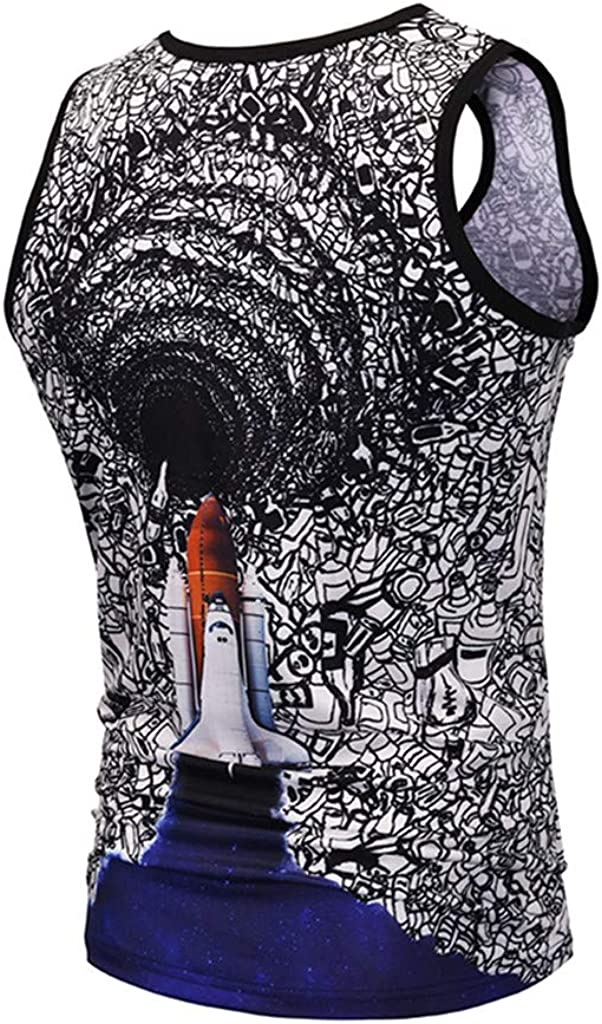 STORTO Mens Fitted Muscle Cut Workout 3D Print Tank Tops Gym Bodybuilding T-Shirts