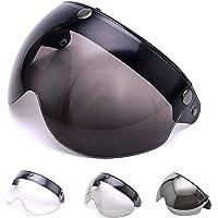 Pilot-Style Universal 3 Snap-Button Visor for Open Face Motorcycle Helmet Wind Shield Flip Up Down by MotorFansClub(Dark…