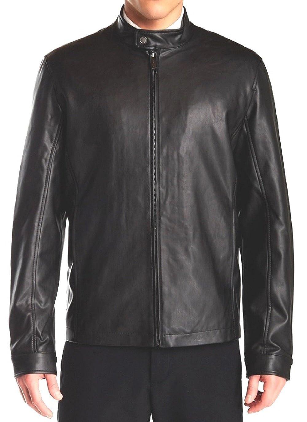 c4afc44ab Perris Ellis Men's Faux Leather Bomber Jacket (Black, Large) at ...