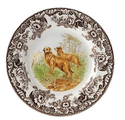 Spode Woodland Hunting Dogs Golden Retriever Salad Plate