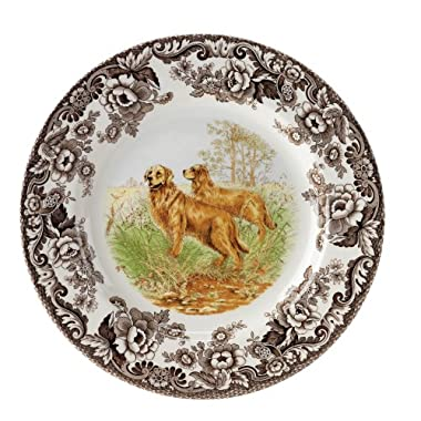 Spode Woodland Hunting Dogs Golden Retriever Salad Plate