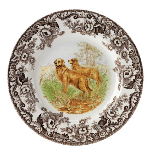 Spode Hunting Dogs - Spode Woodland Hunting Dogs Golden Retriever Salad Plate