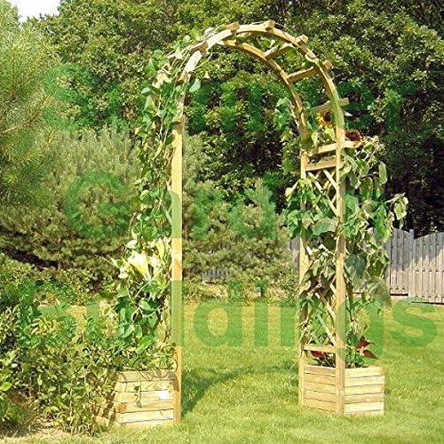 Arco de madera para jardín – Enrejado madera tratada a presión, y macetas: Amazon.es: Jardín