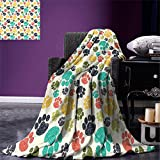 smallbeefly Dog Lover Custom printed Throw Blanket Cute Hand Drawn Paw Print Doodles Circular Pattern Children Drawing Style Animal Velvet Plush Throw Blanket Multicolor