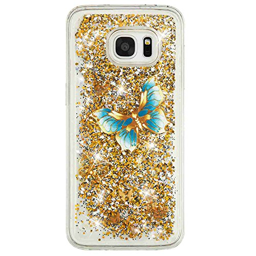 Urberry Galaxy S7 Edge Case, Floating Bling Glitter Sparkle Case for Samsung Galaxy S7 Edge with a Screen Protector (YB-Gold2)